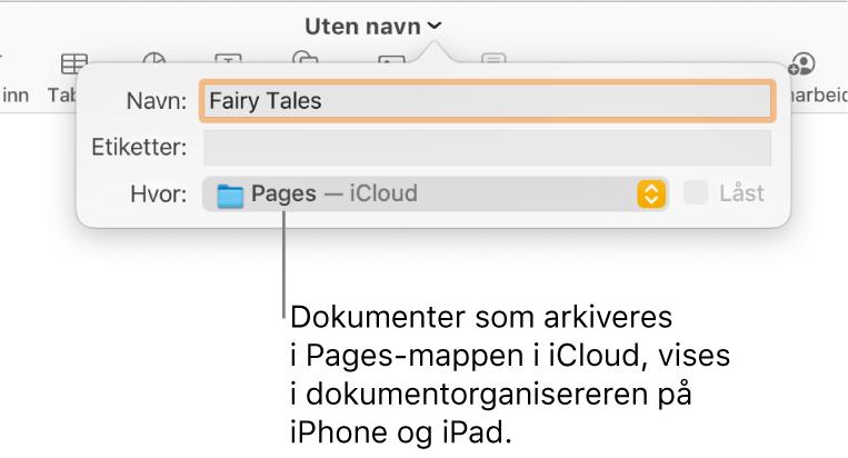 Arkiver-dialogruten for et dokument med Pages – iCloud i Hvor-lokalmenyen.