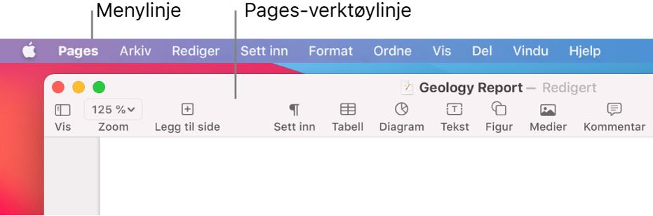 Menylinjen med Apple-menyen og Pages-menyen øverst til venstre, og under det Pages-verktøylinjen med knapper for Vis og Zoom øverst til venstre.