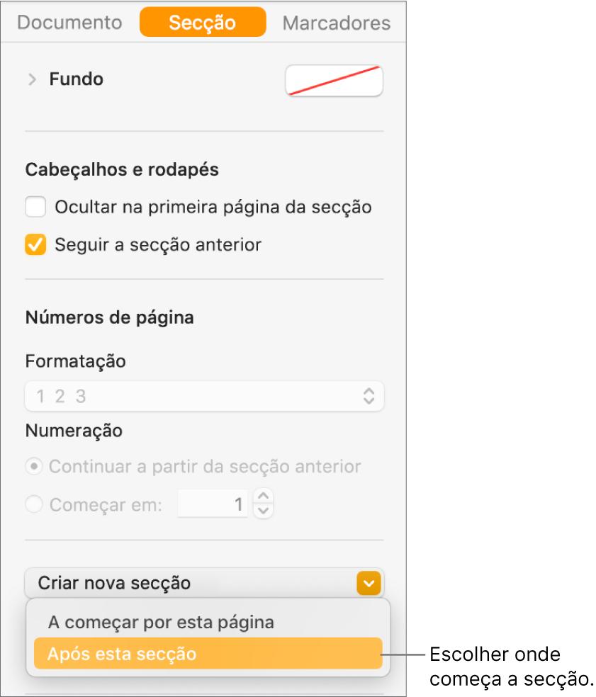 """A barra lateral Documento com o separador Secção selecionado. Perto da parte inferior da barra lateral está um menu pop-up """"Início da secção"""" e um menu pop-up """"Criar nova secção""""."""