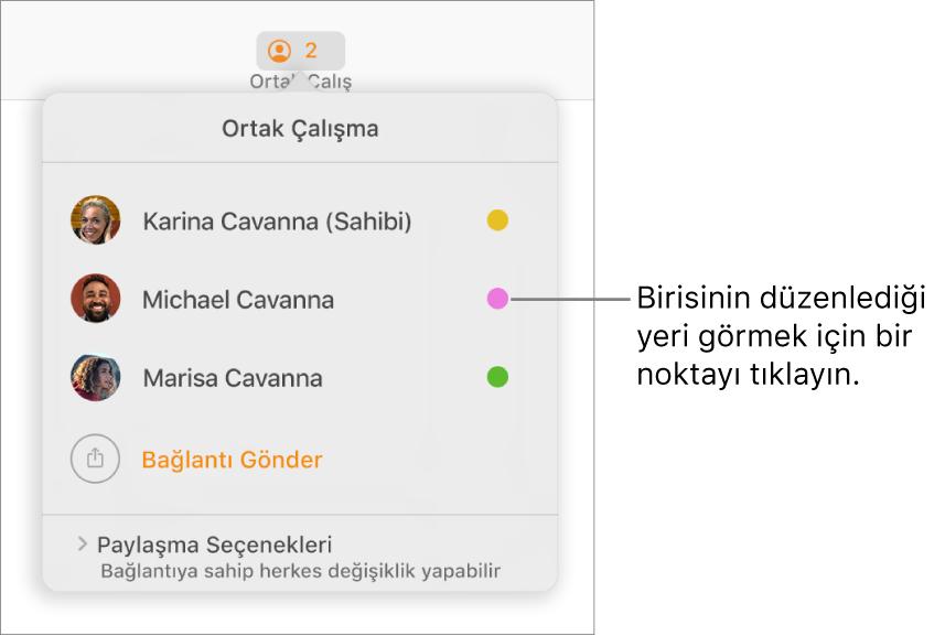 Üç katılımcı ve her adın sağında farklı renkte bir nokta bulunan katılımcı listesi.