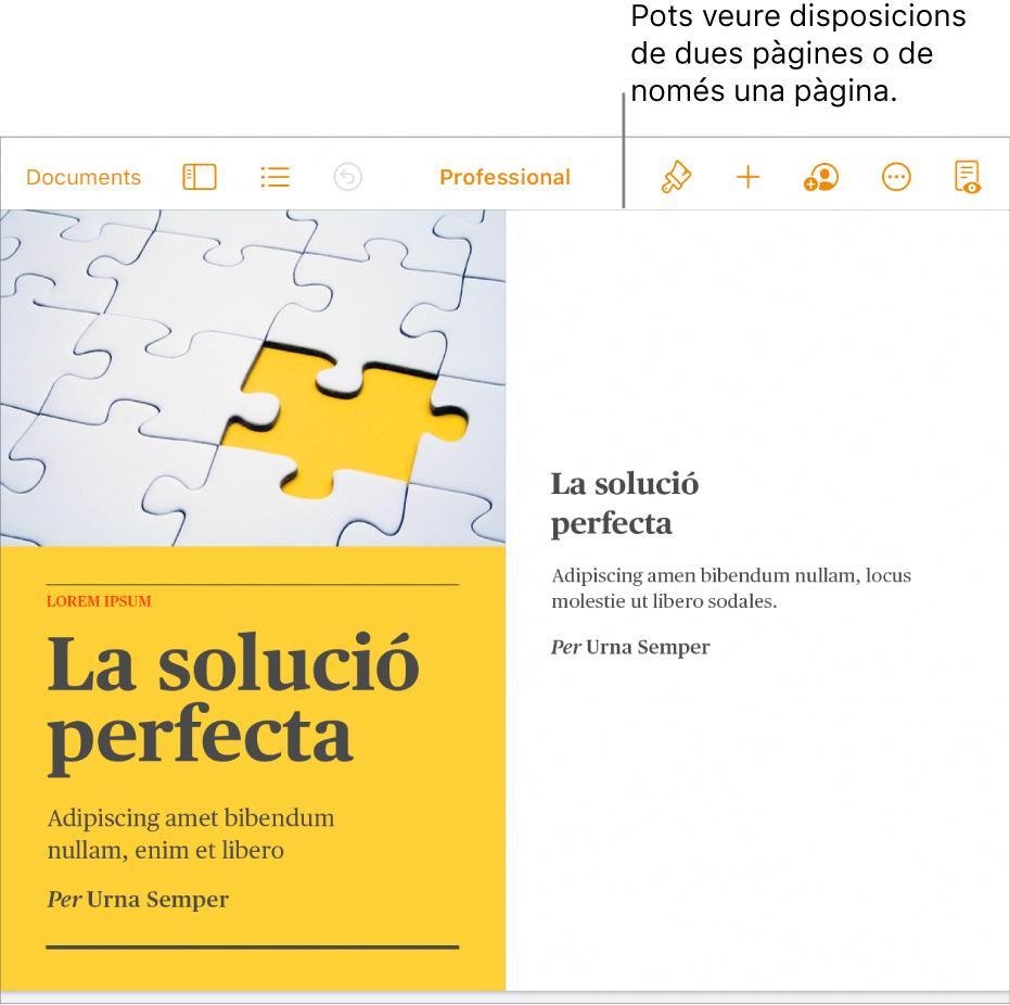 Un document amb una visualització consistent en una disposició de dues pàgines.