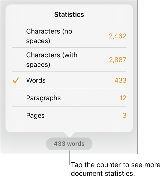 The word counter with a menu showing options to show the number of characters without and with spaces, word count, paragraph count and page count.