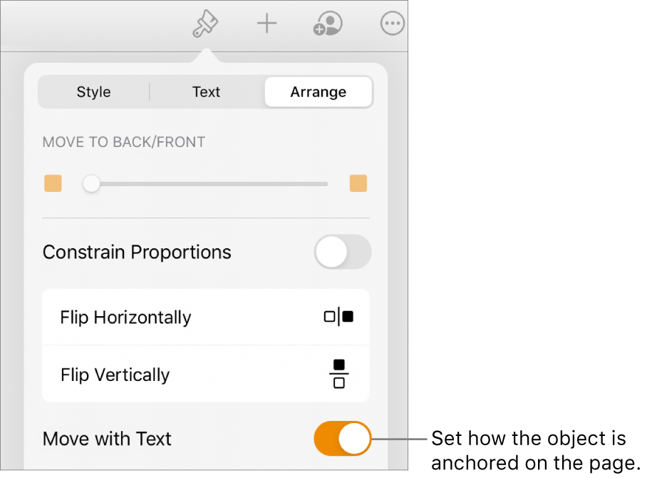 The Format controls with the Arrange tab selected and controls for Move to Back/Front, Move with Text and Text Wrap.
