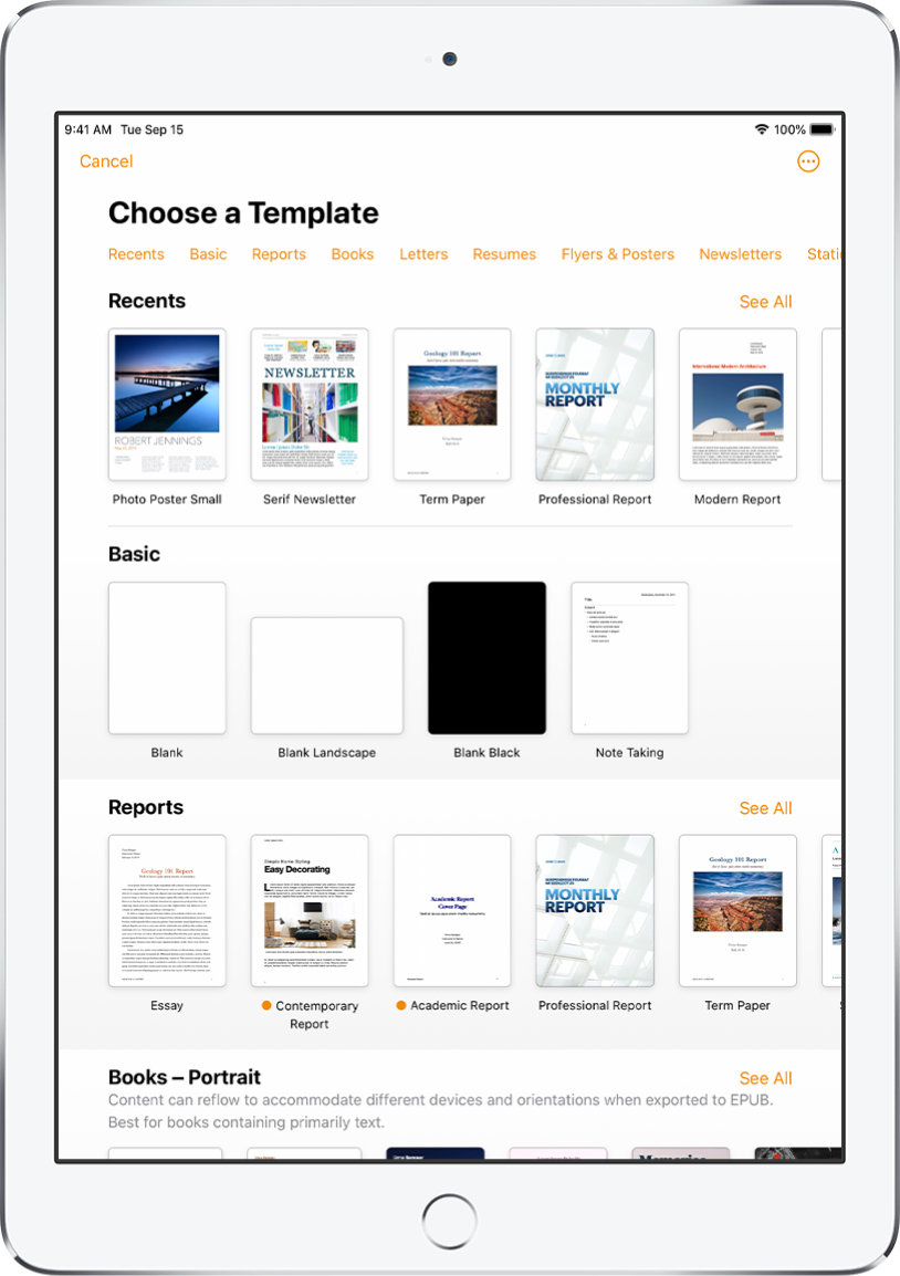 The template chooser, showing a row of categories across the top that you can tap to filter the options. Below are thumbnails of predesigned templates arranged in rows by category, starting with Recents at the top and followed by Basic and Reports. A See All button appears above and to the right of each category row. The Language and Region button is in the top-right corner.