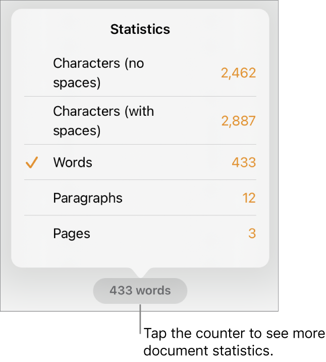 The word counter with a menu showing options to show the number of characters without and with spaces, word count, paragraph count, and page count.