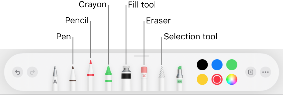 The drawing toolbar with a pen, pencil, crayon, fill tool, eraser, selection tool, and color well showing the current color.