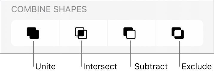 Unite, Intersect, Subtract, and Exclude buttons below Combined Shapes.