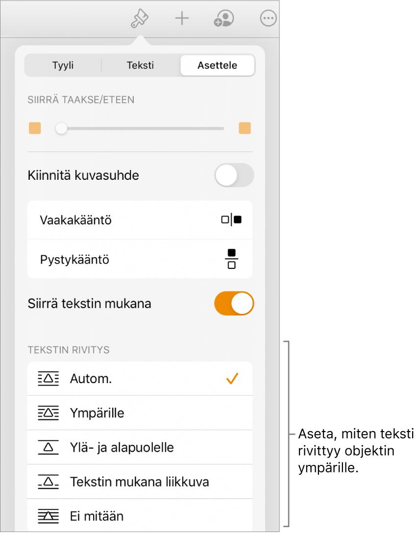 Muoto-säätimet Asettele-välilehden ollessa valittuna. Sen alla Tekstin rivitys -säätimet, joissa on Siirrä taakse/eteen, Siirrä tekstin kanssa ja Tekstin rivitys.