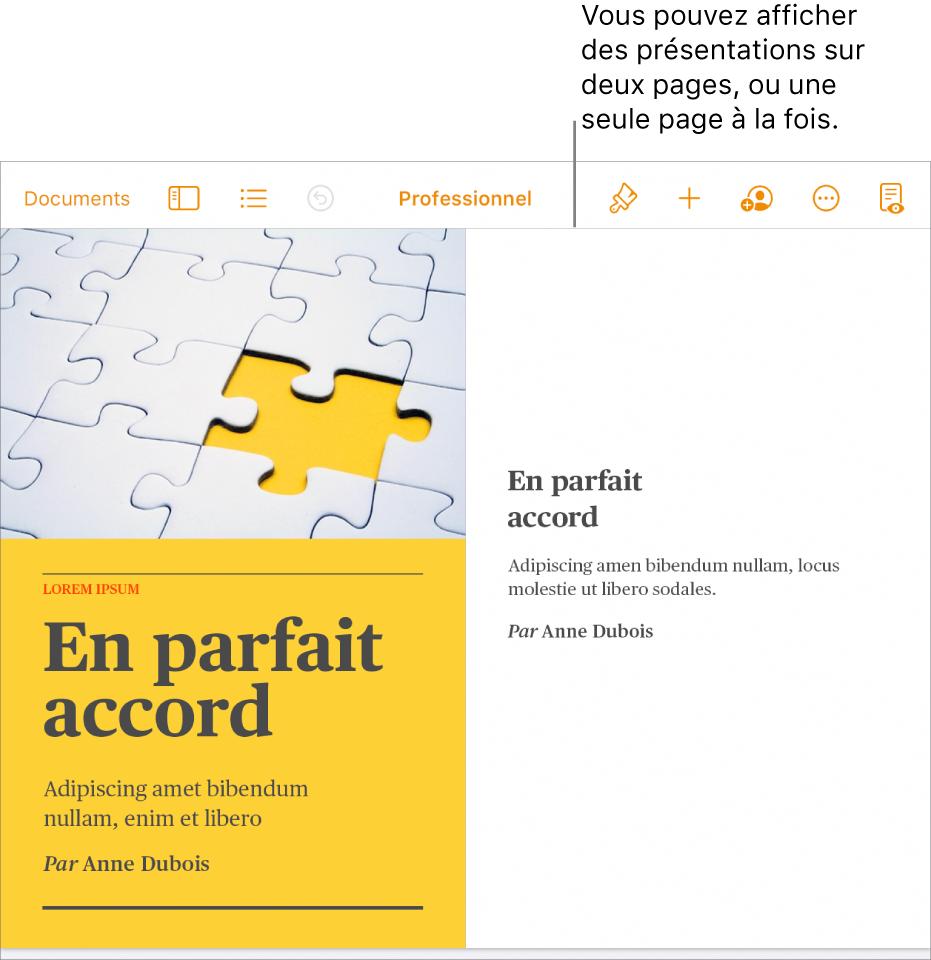 Un document dont les pages sont affichées en présentation sur deux pages.