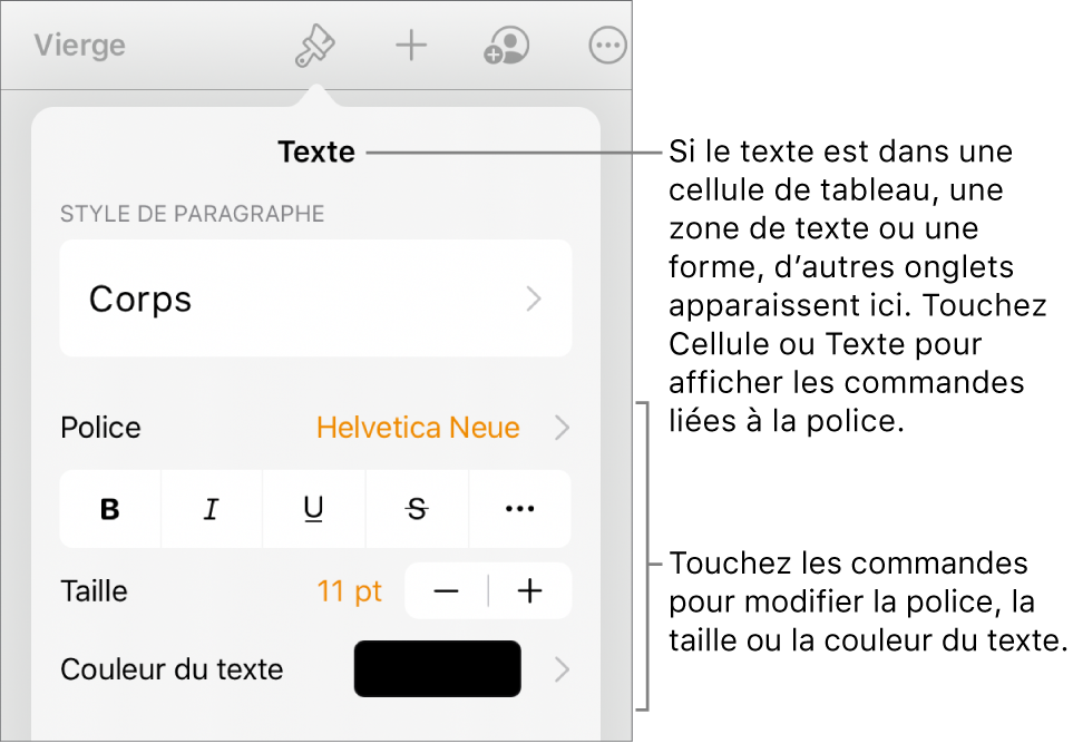 Commandes de texte du menu de format permettant de définir les styles, la police, la taille et la couleur des paragraphes et des caractères.