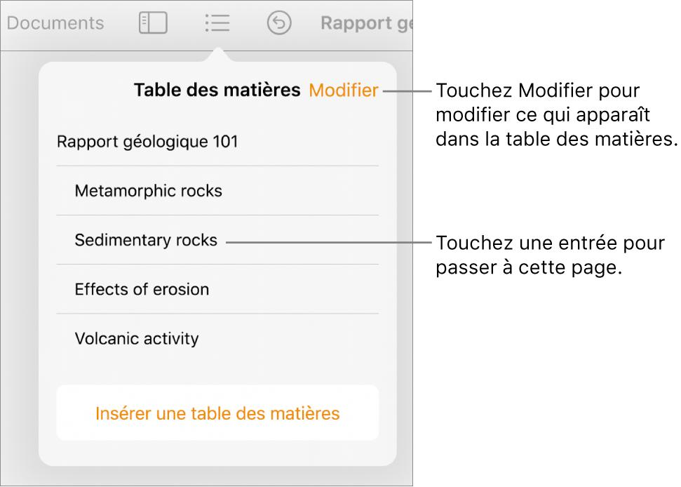 La présentation de la table des matières avec les entrées sous forme de liste. Le bouton Modifier se trouve dans le coin supérieur droit de la présentation.