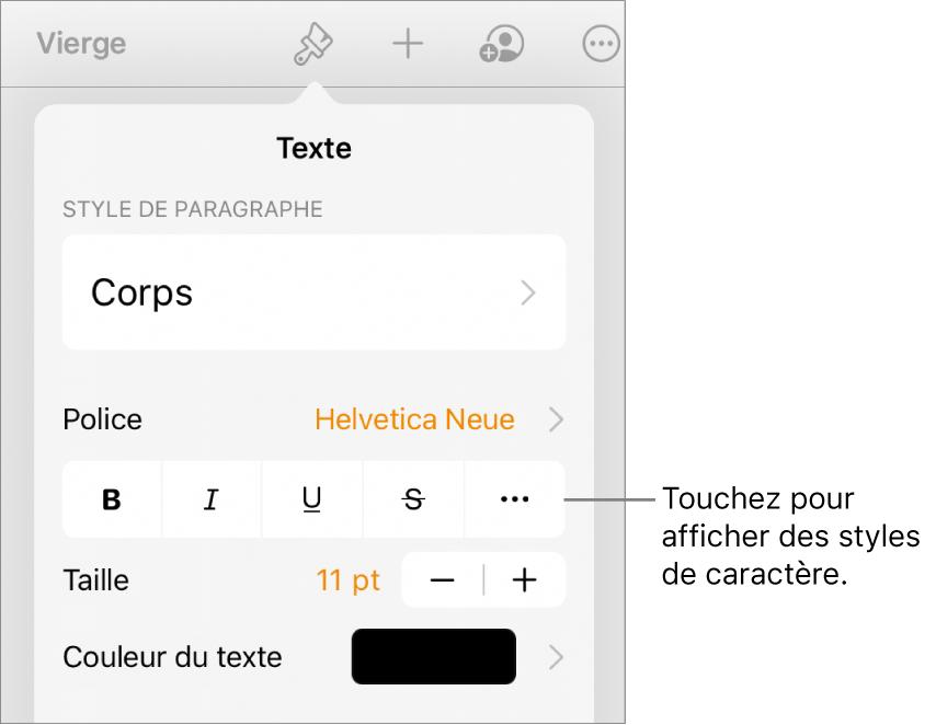 Les commandes de mise en forme avec les styles de paragraphe en haut, suivis des commandes de police. En dessous de Police se trouvent les boutons Gras, Italique, Souligné, Barré et «Plus d'options de texte».