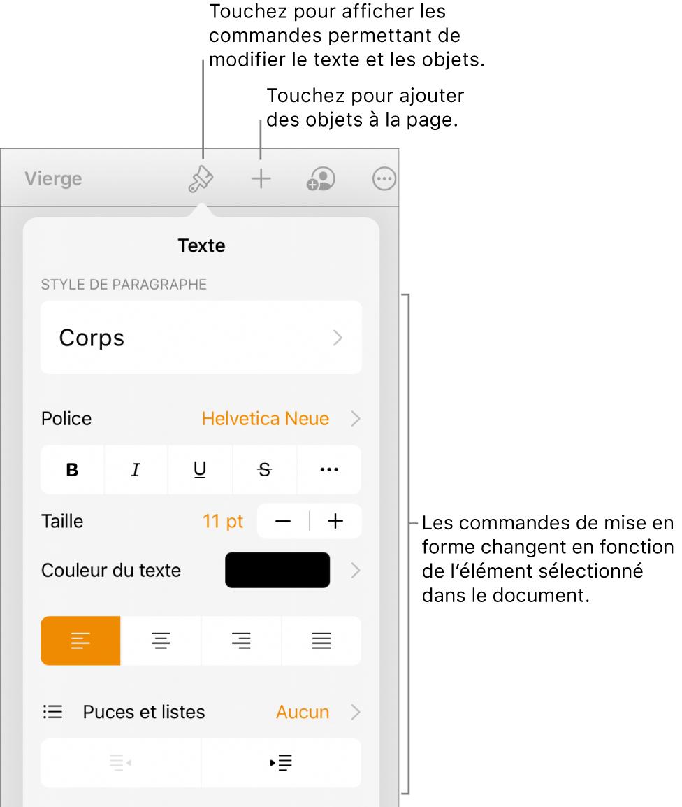 Les commandes Format s'ouvrent et affichent des options pour changer le style des paragraphes, modifier les polices et mettre en forme l'espacement des polices. Des légendes en haut indiquent le bouton Format dans la barre d'outils et, à sa droite, le bouton Insérer pour ajouter des objets à la page.