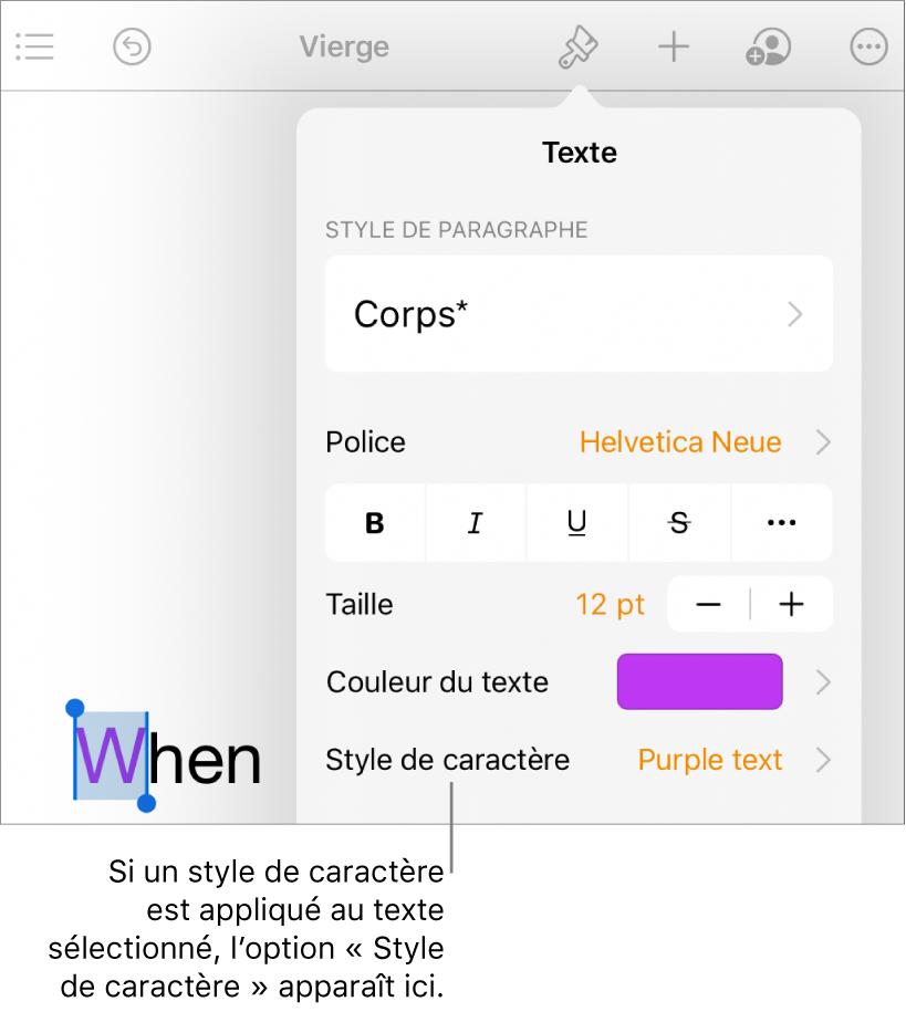Commandes de mise en forme de texte avec Style de caractère au-dessous des commandes «Couleur de texte».