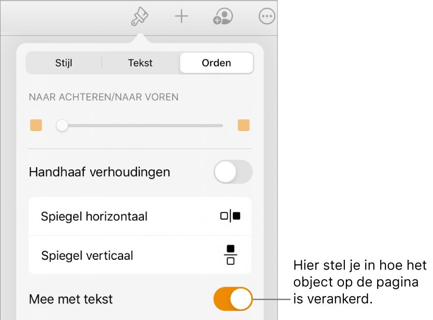 Het tabblad 'Orden' in het paneel met opmaakregelaars en regelaars voor 'Naar achteren/Naar voren', 'Mee met tekst' en 'Tekstomloop'.