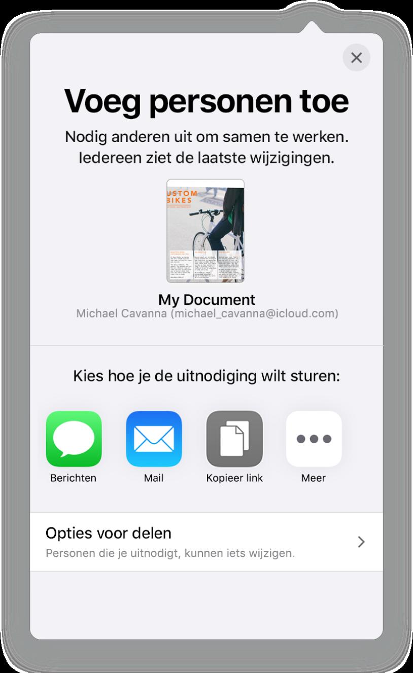 Het scherm 'Voeg personen toe' met daarin een afbeelding van het document dat wordt gedeeld. Eronder staan knoppen voor de manieren waarop de uitnodiging kan worden verstuurd, waaronder Mail en 'Kopieer link'. Onder in het scherm staat de knop 'Opties voor delen'.