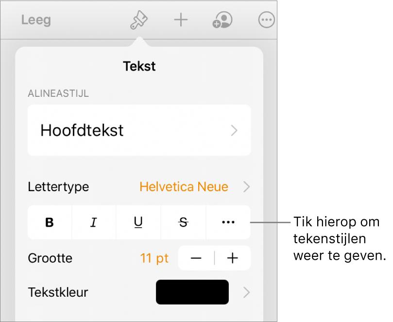 De opmaakregelaars met bovenin de alineastijlen en daaronder de lettertyperegelaars. Onder 'Lettertype' staan de knoppen voor 'Vet', 'Cursief', 'Onderstreept', 'Doorgehaald' en de knop voor meer tekstopties.