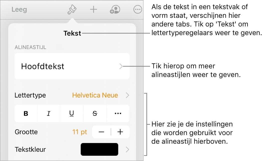 Het opmaakmenu met tekstregelaars voor het instellen van alinea- en tekenstijl, lettertype, lettergrootte en kleur.