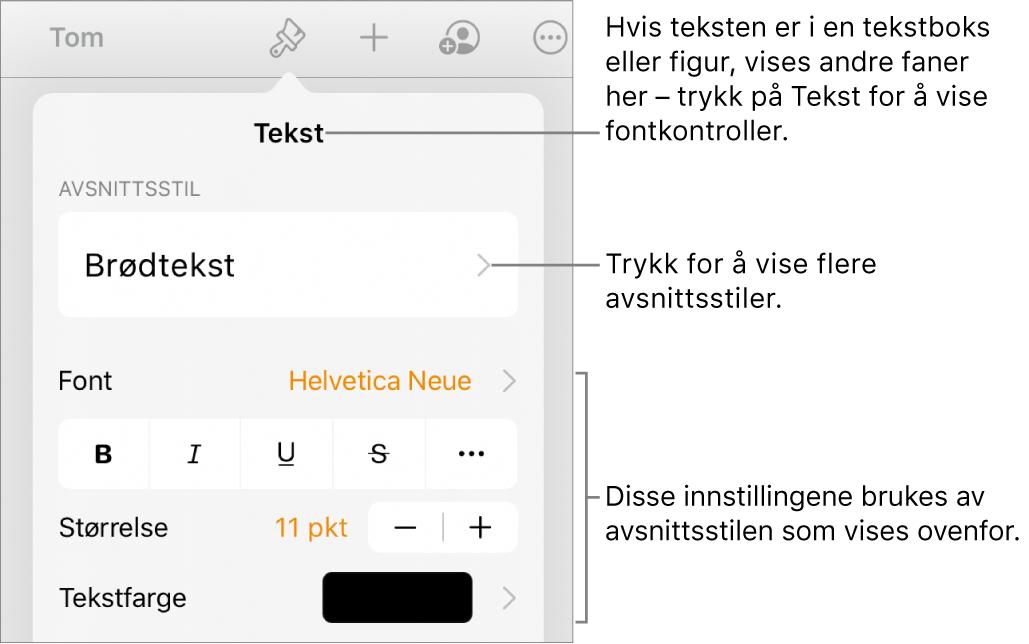 Format-menyen som viser tekstkontroller for å angi avsnitts- og tegnstiler, font, størrelse og farge.