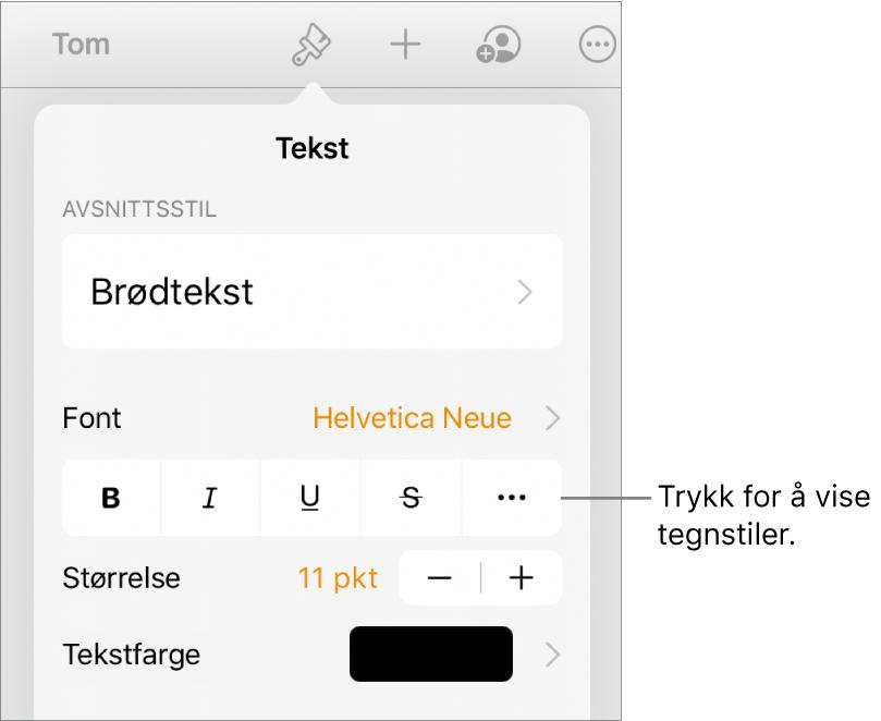Format-kontrollene med avsnittsstiler øverst, deretter Font-kontroller. Under Font vises Halvfet-, Kursiv-, Understreket-, Gjennomstreket- og Flere tekstvalg-knappene.