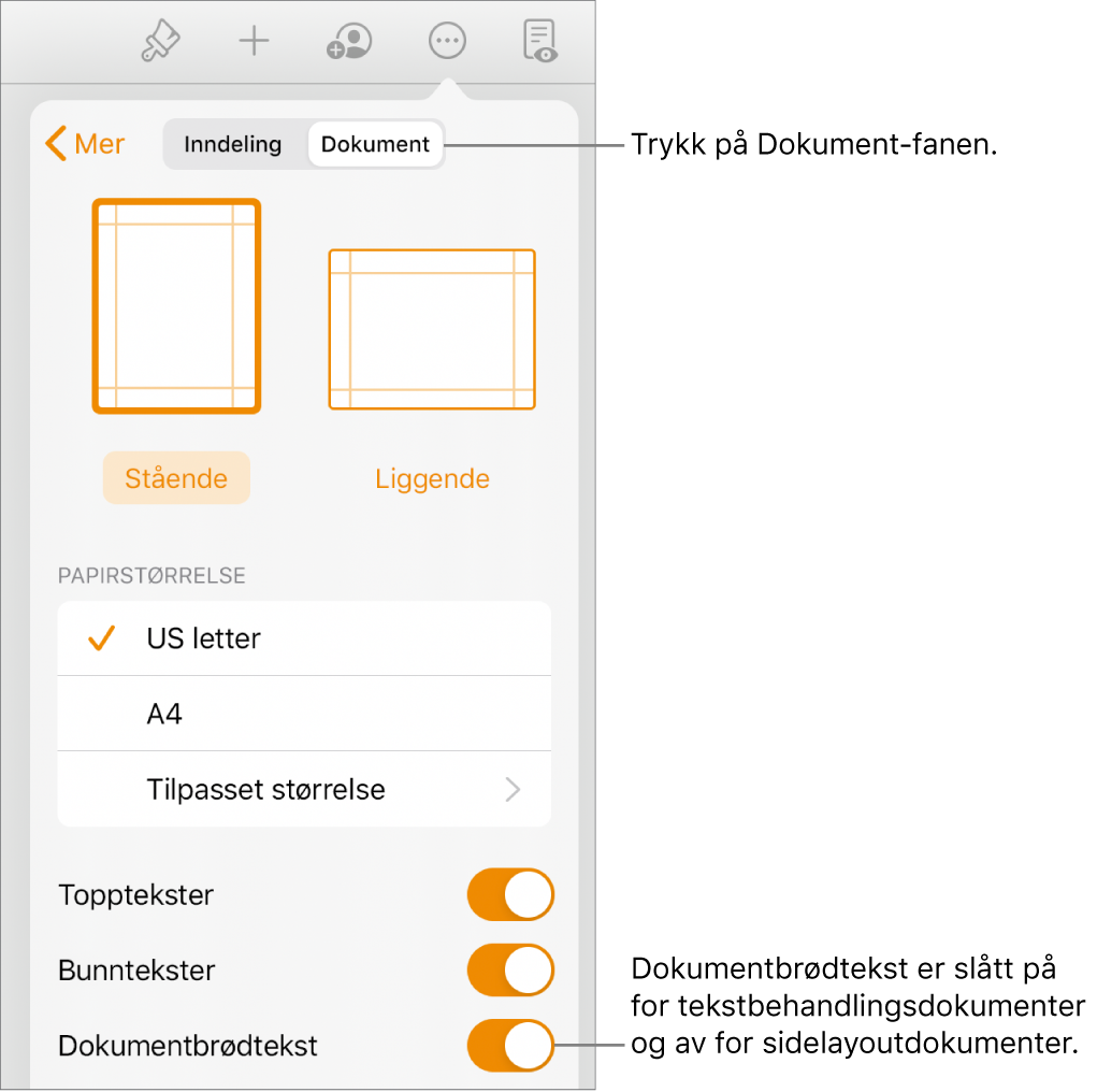 Dokumentformatkontrollene med Dokumentbrødtekst slått på nesten nederst på skjermen.