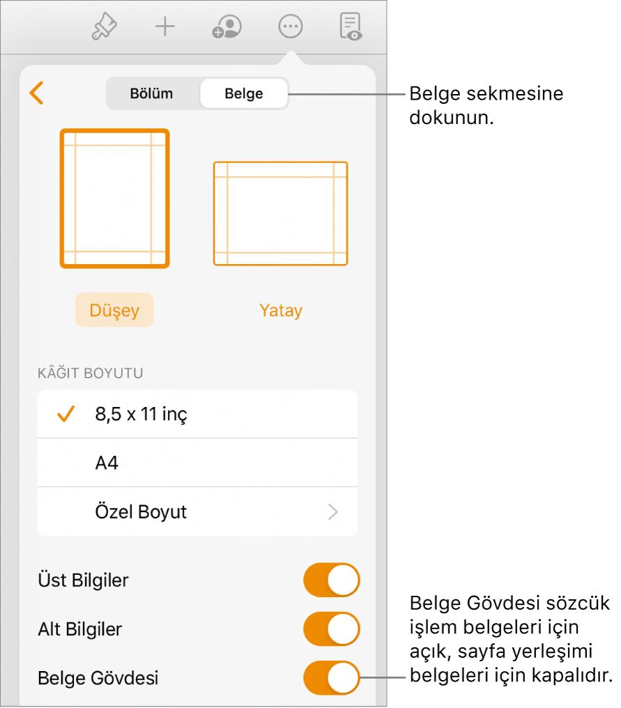 Ekranın en altında Belge Gövdesi açık olan Belge biçim denetimleri.