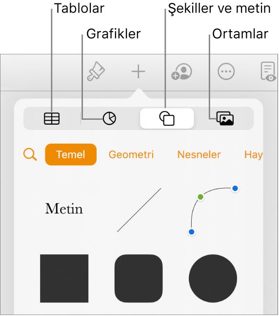 En üstte tablo, grafik, şekil (çizgiler ve metin kutuları da dahil olmak üzere) ve ortam seçme düğmelerini gösteren nesne ekleme denetimleri.