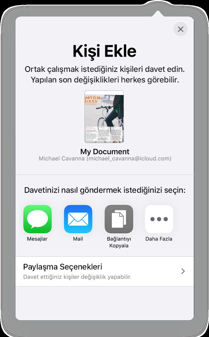 Kişi Ekle ekranı, paylaşılacak belgenin bir resmini gösteriyor. Onun altında Mail, Bağlantıyı Kopyala ve Diğer de dahil olmak üzere çeşitli davet gönderme yolları için düğmeler var. En altta Paylaşma Seçenekleri düğmesi bulunuyor.