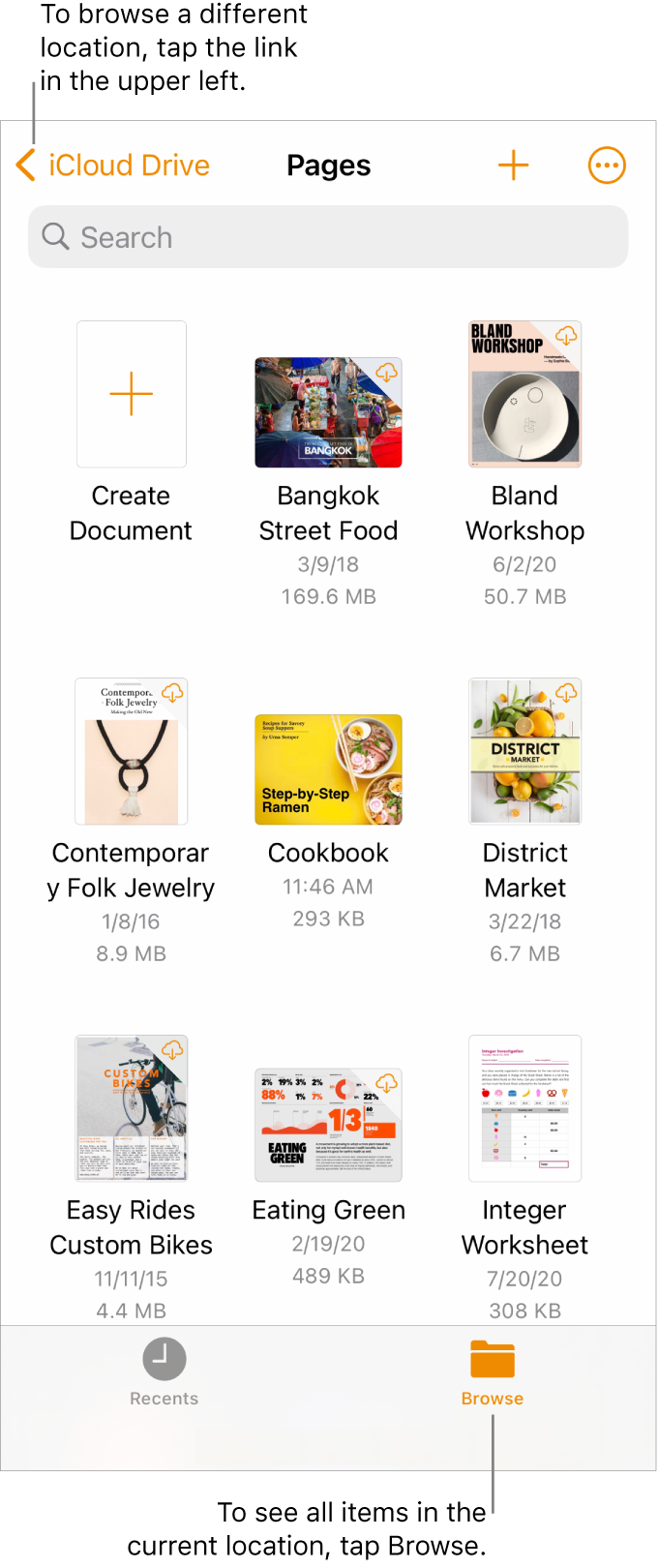 The browse view of the document manager with a location link in the top-left corner and below it a Search field. In the top-right corner are the Add a Document button and the More button. At the bottom of the screen are a Recents button and Browse button.