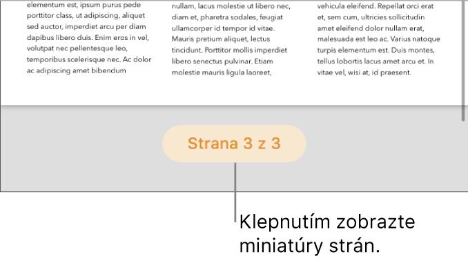 Otvorený dokument stlačidlom počtu strán vstrednej dolnej časti obrazovky.