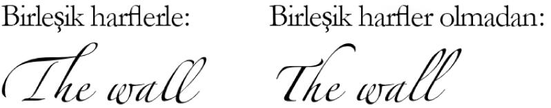 Birleşik harflerle ve birleşik harfler olmadan metin örnekleri.