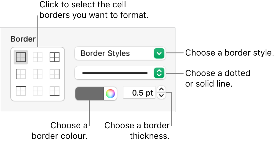 Controls for styling cell borders.
