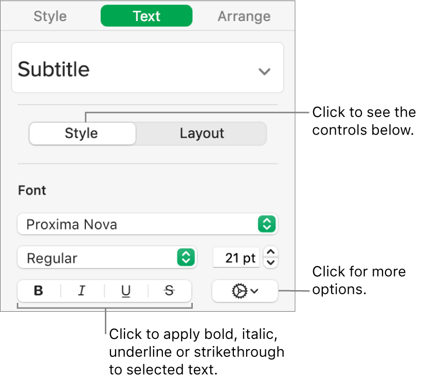 The Style controls in the sidebar with callouts to the Bold, Italic, Underline and Strikethrough buttons.