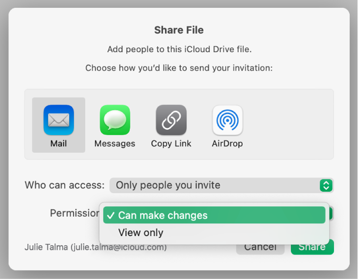 "The collaboration dialog with the Permission pop-up menu open and ""Can make changes"" selected."