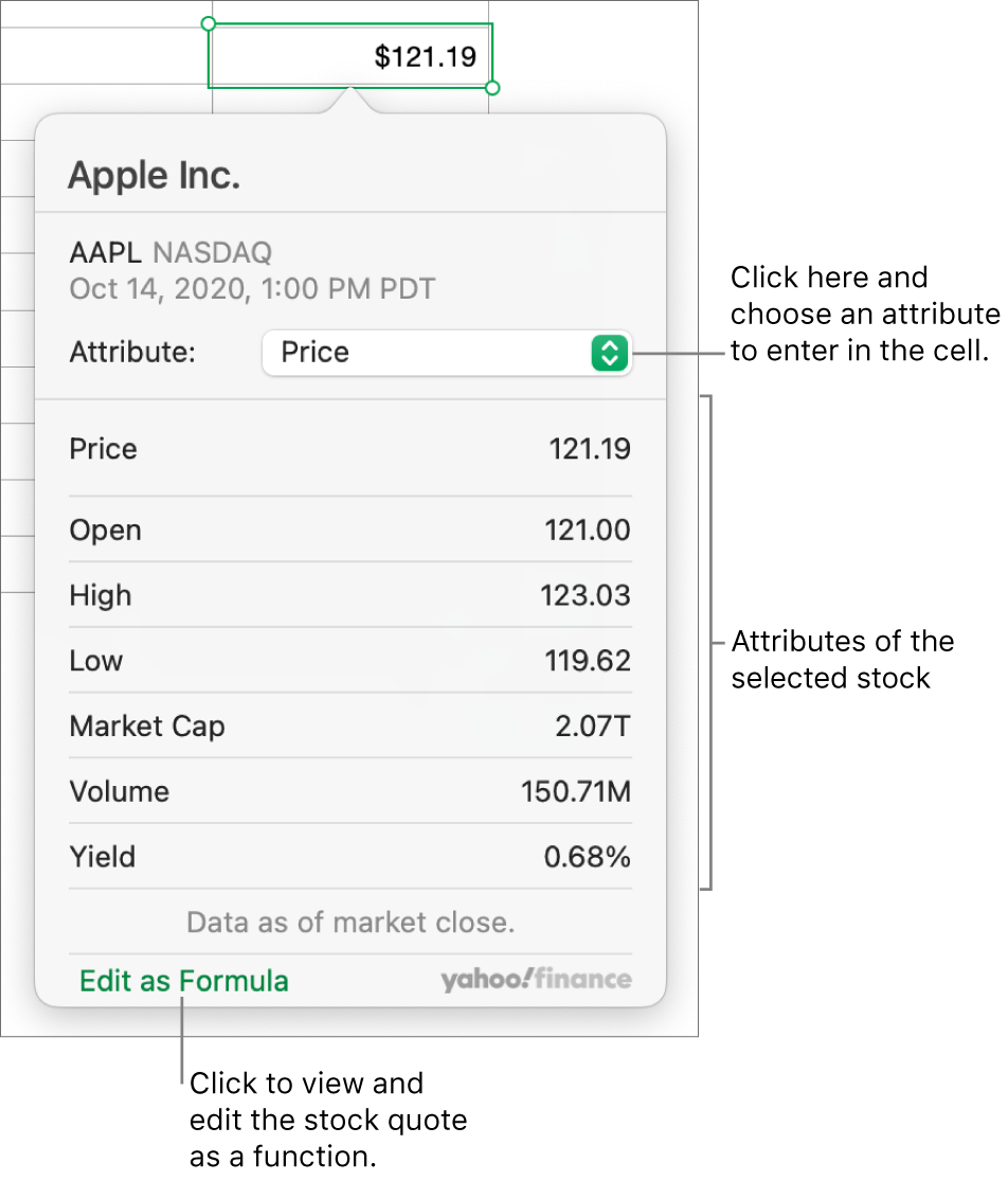 The dialog for entering stock attribute information, with Apple as the selected stock.