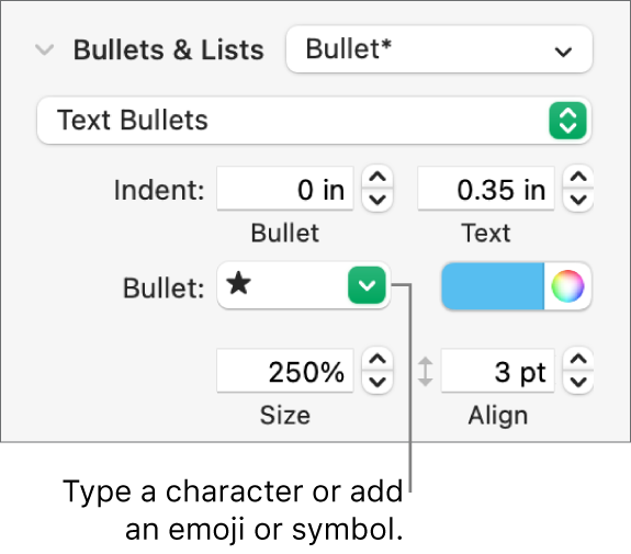The Bullets & Lists section of the Format sidebar. The Bullet field shows a star emoji.