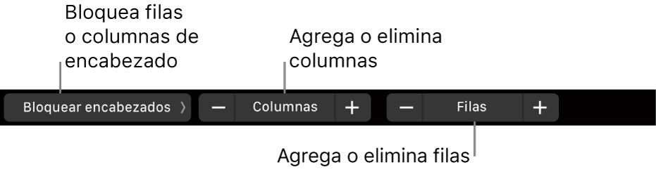 La Touch Bar de la MacBook Pro con controles para congelar las columnas o filas del encabezado y agregar o eliminar columnas o filas.