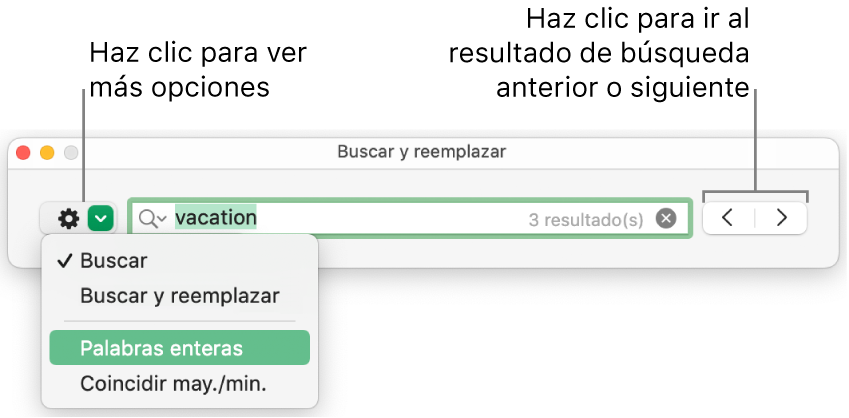 """La ventana """"Buscar y reemplazar"""" con un mensaje en el botón para mostrar más opciones, correspondientes a """"Buscar"""", """"Buscar y reemplazar"""", """"Reemplazar"""", """"Palabras enteras"""" y """"Coincidir may./min."""". Las flechas de la derecha te permiten ir a los resultados de búsqueda anteriores o siguientes."""