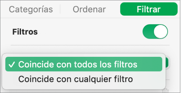 Menú desplegable para seleccionar entre mostrar las filas que coincidan con todos los filtros o con cualquiera de los filtros.