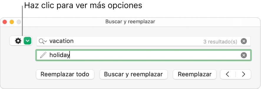 """La ventana """"Buscar y reemplazar"""" con un mensaje en el botón para mostrar más opciones."""