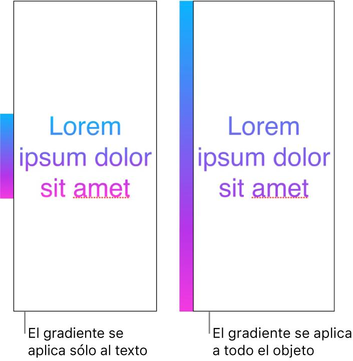 Ejemplos lado a lado. El primer ejemplo muestra texto con el degradado aplicado sólo en el texto, de manera que todo el espectro del color se muestra en el texto. El segundo ejemplo muestra texto con el degradado aplicado a todo el objeto, de manera que sólo parte del espectro del color se muestra en el texto.