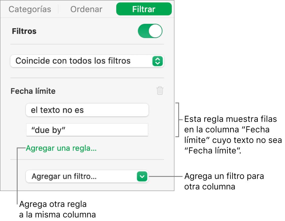 Controles para crear reglas de filtro.