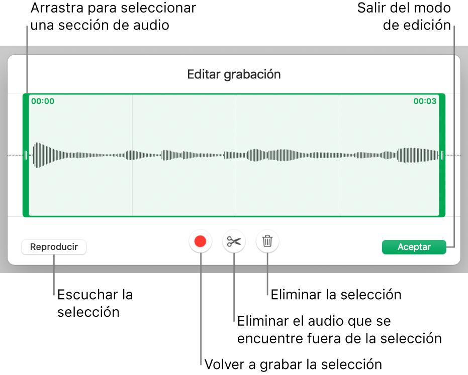 Controles para editar el audio grabado. Los tiradores indican la sección seleccionada de la grabación, y los botones para Previsualizar, Grabar, Acortar, Eliminar y modo de edición se encuentran debajo.