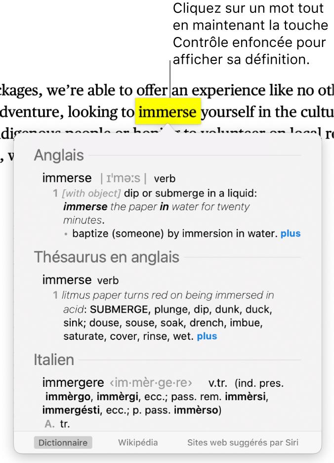 Un texte avec un mot surligné et une fenêtre contenant sa définition et des synonymes. Trois boutons en bas de la fenêtre fournissent des liens vers le dictionnaire, Wikipédia et des sites web suggérés par Siri.