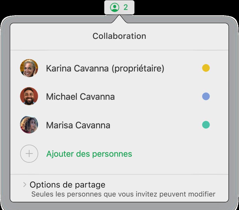 Le menu Collaboration affichant le nom des personnes qui collaborent sur la feuille de calcul. Les options de partage se trouvent sous les noms.