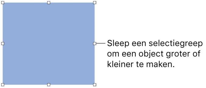 Een object met witte vierkantjes op de rand om de grootte van het object aan te passen.