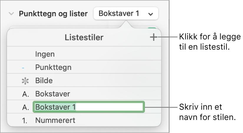 Listestiler-lokalmenyen med en Legg til-knapp øverst i høyre hjørne og et plassholderstilnavn med teksten markert.