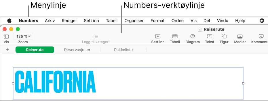 Menylinjen øverst på skjermen med menyene Apple, Numbers, Arkiv, Rediger, Sett inn, Format, Ordne, Vis, Del, Vindu og Hjelp. Under menylinjen er det et åpent Numbers-regneark med verktøylinjeknapper øverst for Vis, Zoom, Legg til kategori, Sett inn, Tabell, Diagram, Tekst, Figur, Medier og Kommentar.