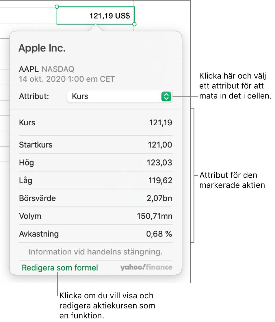 Dialogrutan för att mata in information om aktieattribut där Apple-aktien har markerats.