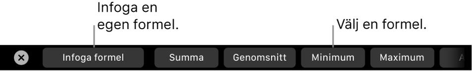 TouchBar på MacBook Pro med reglage för att infoga en egen formel och välja en ofta använd formel.